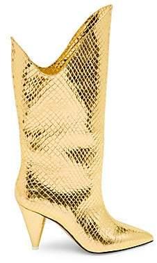 ATTICO Women's Betta Snakeskin Print Metallic-Leather Boots