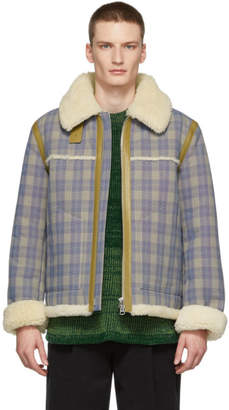 Acne Studios Beige and Blue Check Shearling Jacket