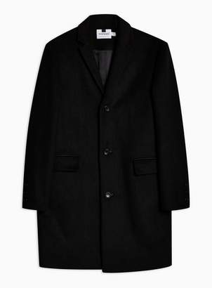 Topman Mens Black Overcoat With Wool