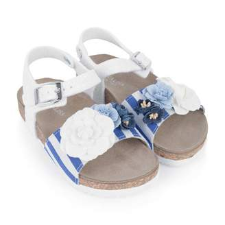 MonnaLisa MonnalisaBlue Striped Sandals With Flower Appliques