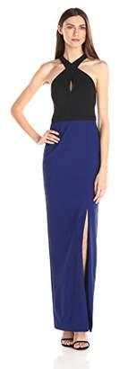 Nicole Miller Women's Cece Techy Crepe Halter Gown,4