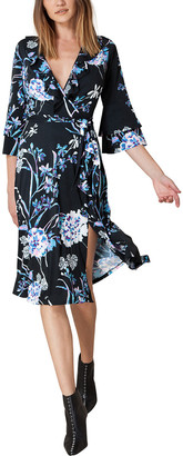Hale Bob 3/4 Sleeve V Neck Waist Wrap Floral Dress