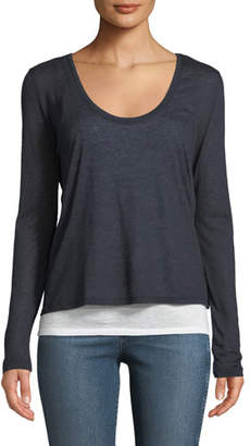 Neiman Marcus Majestic Paris for Layered Scoop-Neck Cashmere Blend Top