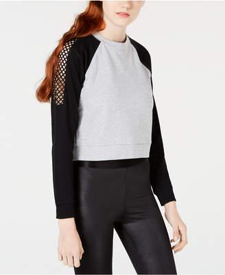 Material Girl Juniors' Colorblocked Mesh-Trim Sweatshirt