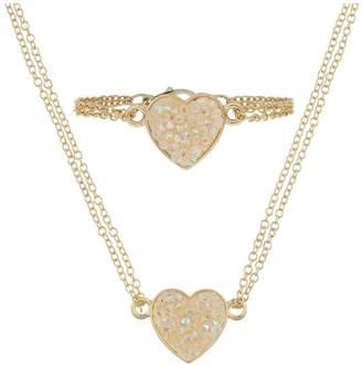 Monsoon Girls Dazzle Heart Necklace & Bracelet Set