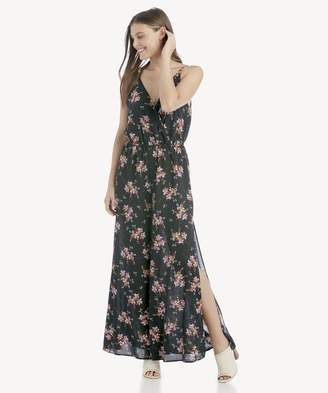 Sole Society Wildflower Wrap Front Jumpsuit w/ Slits