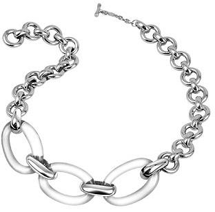 Murano Masini Clear Oval Glass Sterling Silver Necklace