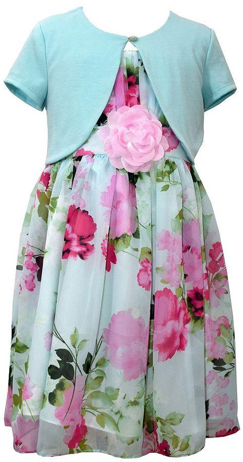 Bonnie JeanGirls 7-16 & Plus Size Bonnie Jean Floral Chiffon Dress & Shrug Set