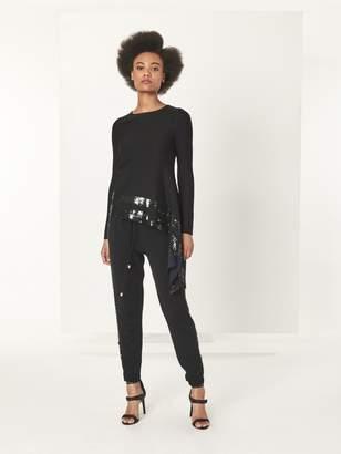 Oscar de la Renta Black Sequin Stripe Embroidered Wool Pants