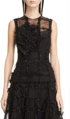 Simone Rocha Ruched Flower Tinsel Check Sleeveless Tulle Top