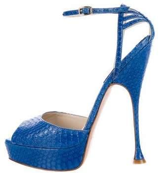Brian Atwood Snakeskin Platform Sandals