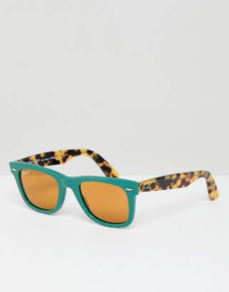 Ray-Ban 0RB2140 Wayfarer sunglasses in green & tort