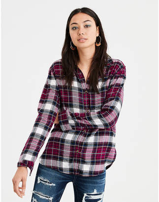 American Eagle AE Ahhmazingly Soft Flannel Boyfriend Shirt