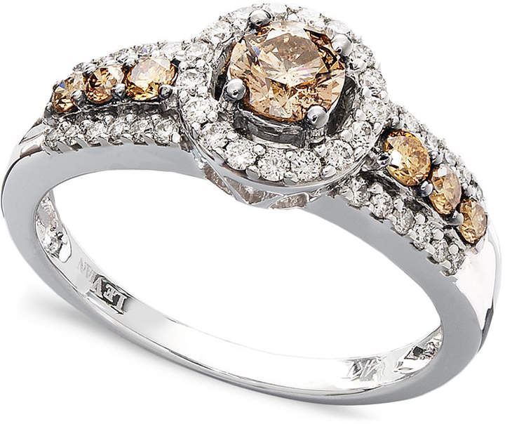 LeVian Le Vian Chocolate and White Diamond Ring in 14k White Gold (3/4 ct. t.w.)