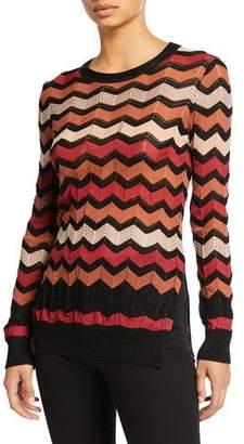 M Missoni Zigzag Stitched Crewneck Long-Sleeve Top