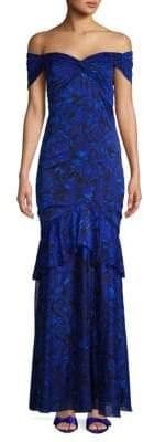 Tadashi Shoji Floral Off-The-Shoulder Gown