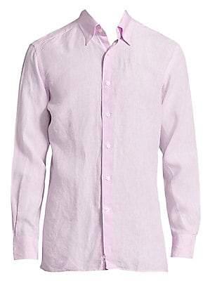 Canali Men's Regular-Fit Woven Linen Shirt