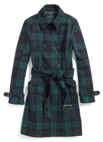Tommy Hilfiger Women's Plaid Wool Trench Coat