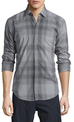 Burberry Brit Faded Check Long-Sleeve Sport Shirt, Gray $425 thestylecure.com