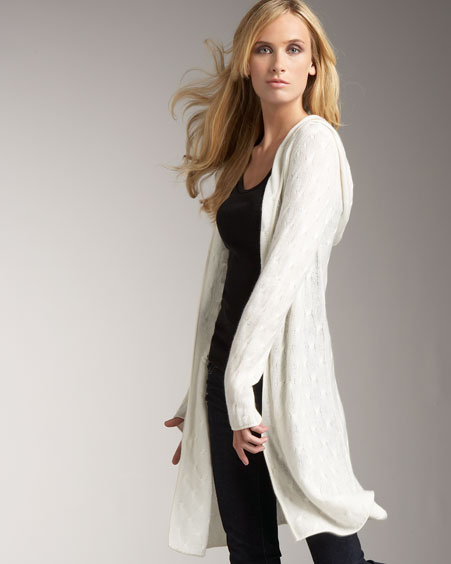 NM Exclusive Hooded Cable Cashmere Cardigan