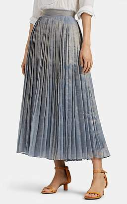 Thierry Colson Women's Tijuana Pleated Metallic-Gauze Skirt - White