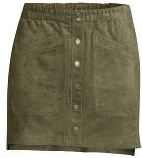 BCBGMAXAZRIA Faux-Suede Mini Skirt