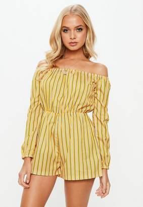 Missguided Yellow Printed Stripe Bardot Playsuit, Yellow