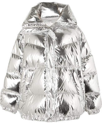 MM6 MAISON MARGIELA Oversized Quilted Metallic Shell Down Jacket - Silver