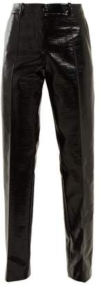 Jil Sander Emilio Straight Leg Coated Cotton Blend Trousers - Womens - Black