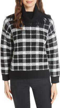 Kate Spade plaid fringe turtleneck sweater