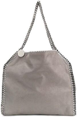 Stella McCartney Light grey Falabella faux leather silver chain tote