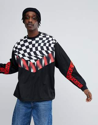 Star Wars ASOS DESIGN ASOS x Oversized Poly Tricot Sweatshirt With Printed Tape & Checkerboard