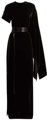 Awake Asymmetric Draped Velvet Maxi Dress - Womens - Black