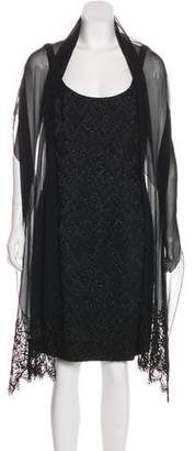 Carmen Marc Valvo Beaded Sleeveless Cocktail Dress