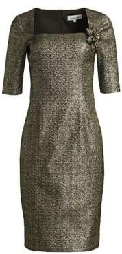 Teri Jon by Rickie Freeman Metallic Jacquard Sheath Dress