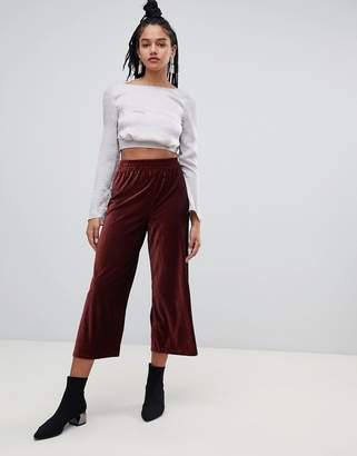 Miss Selfridge cropped wide leg pants in burgundy