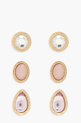 boohoo Mixed Stone Earring Pack