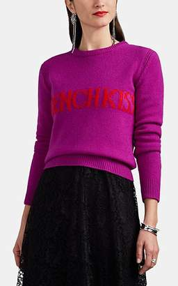 "Alberta Ferretti Women's ""French Kiss"" Wool-Cashmere Crop Sweater - Purple"