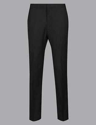 Marks and Spencer Big & Tall Black Tailored Fit Wool Trousers