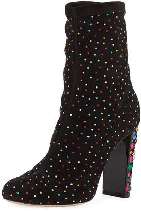 Jimmy Choo Maine Stretch Suede Crystal Embellished Bootie