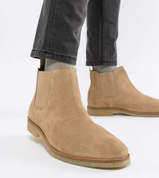 Asos Design DESIGN Wide Fit chelsea boots in stone suede with natural sole