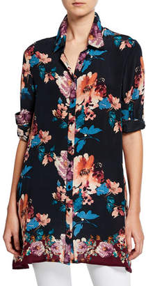Tolani Aniya Blossom-Print Button-Down Long-Sleeve Silk Tunic