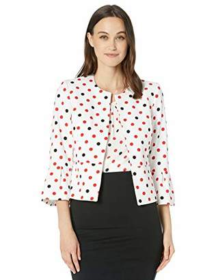 Nine West Women's Bell Sleeve Printed Crepe Jacket