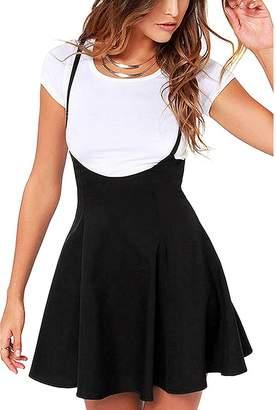 ANDUUNI Women's Strap Pleated A Line Dress Basic Suspender High Waisted Skirt