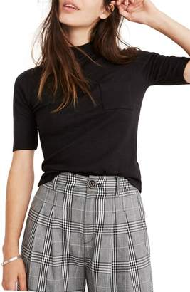 Madewell Raquel Mock Turtleneck Cotton Blend Top