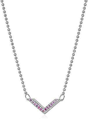 Alex Woo Little Elements Sterling Silver Chevron with Swarovski Genuine Sapphires Pendant Necklaces