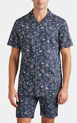 Onia Men's Constellation-Print Cotton Poplin Short-Sleeve Shirt - Navy