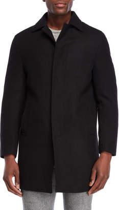 DKNY Black Darcy Wool Overcoat