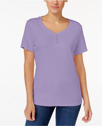 Karen Scott Henley T-Shirt, Only at Macy's $9.98 thestylecure.com