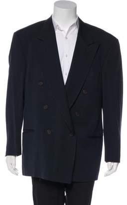 Giorgio Armani Double-Breasted Twill Wool-Blend Blazer